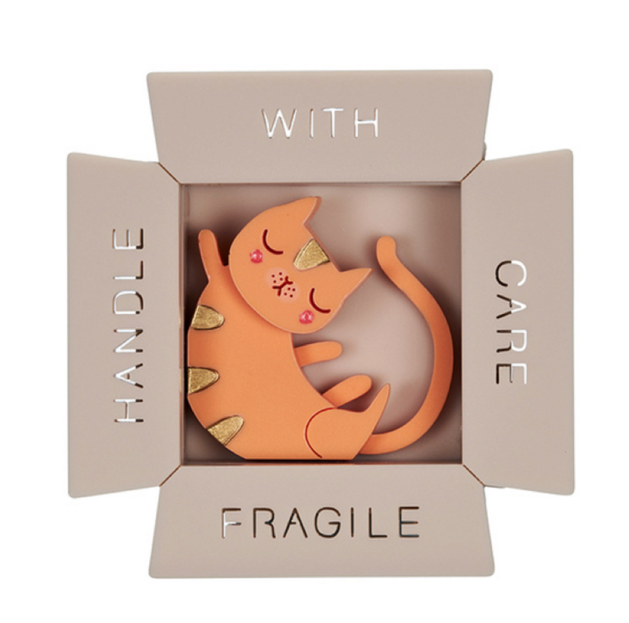 Cat in a Box Brooch by Little Moose