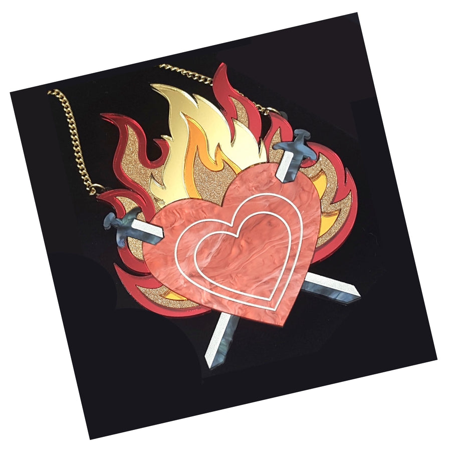 Limited Edition Flaming Heart Statement Necklace by Rosa Pietsch