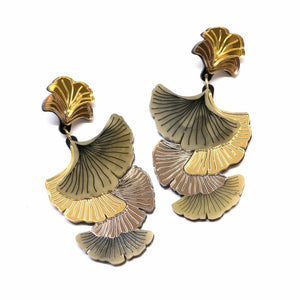 Gingko Leaf Cluster Drop Earrings by Rosa Pietsch