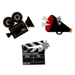 Lights Camera Action Brooch  Set by Erstwilder