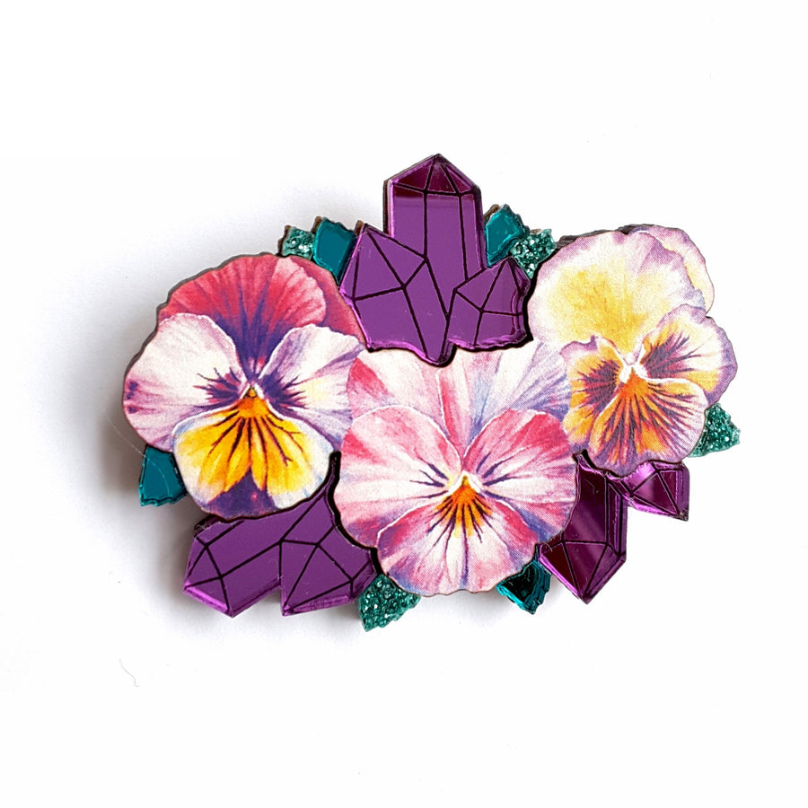 Watercolour Pansy & Mirror Geode Brooch by Esoteric London