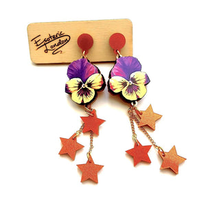 Watercolour Pansy Shooting Star Earrings (Orange & Gold Shimmer Stars) by Esoteric London