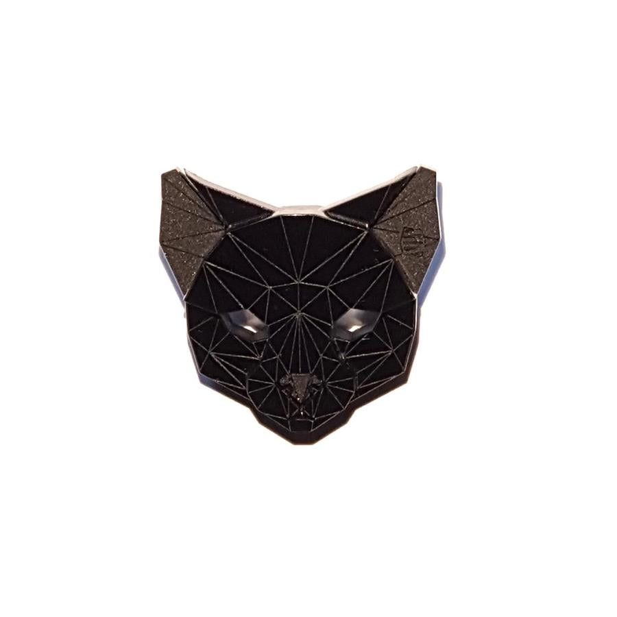Cat Head Brooch (Pitch Black) by Sstutter
