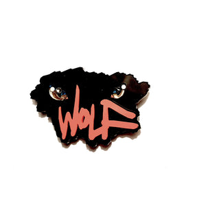 Wolf Eyes Brooch (Fright Night) by Sstutter plus print of original artwork by Phil Wykes