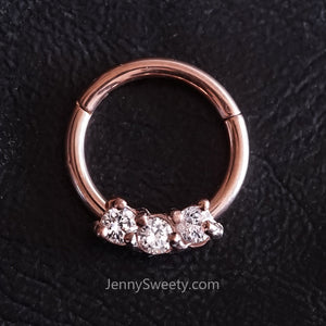 Rose Gold Trio Zircon Hoop Daith Earring Hoop Cartilage Septum Ring