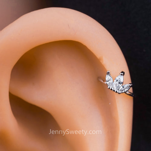 Sparkle Flower Zircon Helix Earring Cartilage Earring