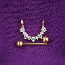 1 Piece Gold Flower Zircon Nipple Ring Nipple Barbells