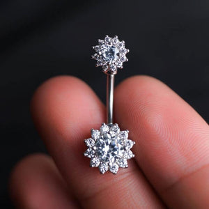 Sparkle Flower Zircon Belly Button Ring