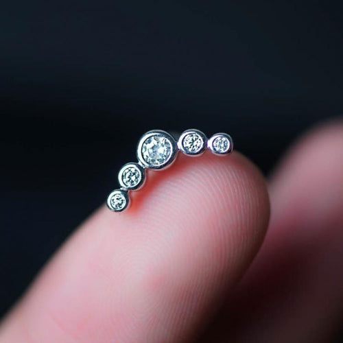 Black 5 Zircons Helix Earring Cartilage Earring Cartilage Piercing Helix Piercing