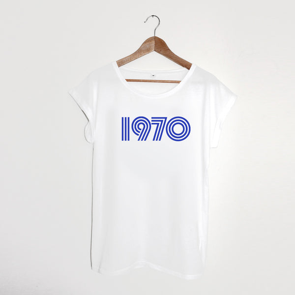 1970 Ladies White Blue Print