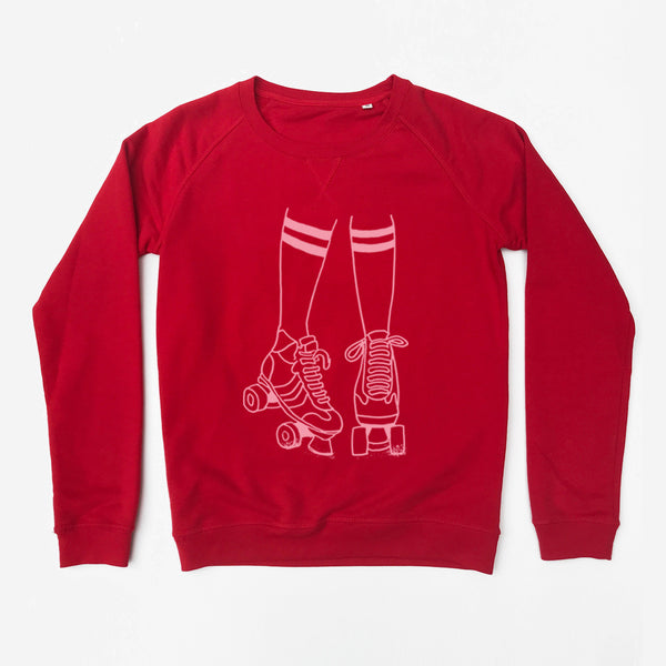 Roller Disco Sweatshirt Ladies Red