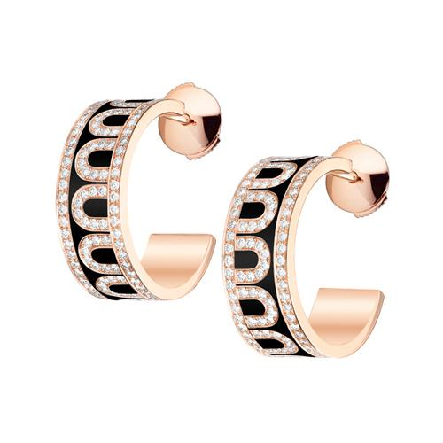 L'Arc de DAVIDOR Creole Earring PM, 18k Rose Gold with lacquer and Palais Diamonds