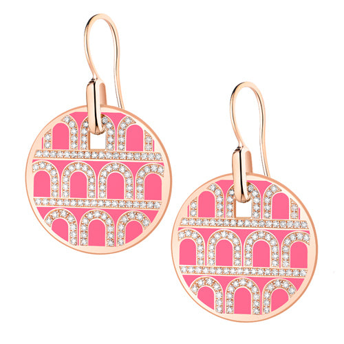 L'Arc de DAVIDOR Pendant Earring GM, 18k Rose Gold with Lacquered Ceramic and Palais Diamonds