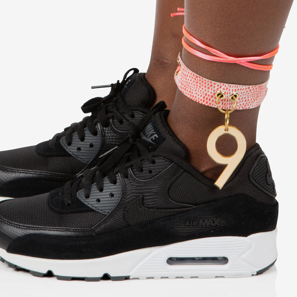 Snakeskin look leather anklet / choker with gold perspex no.9