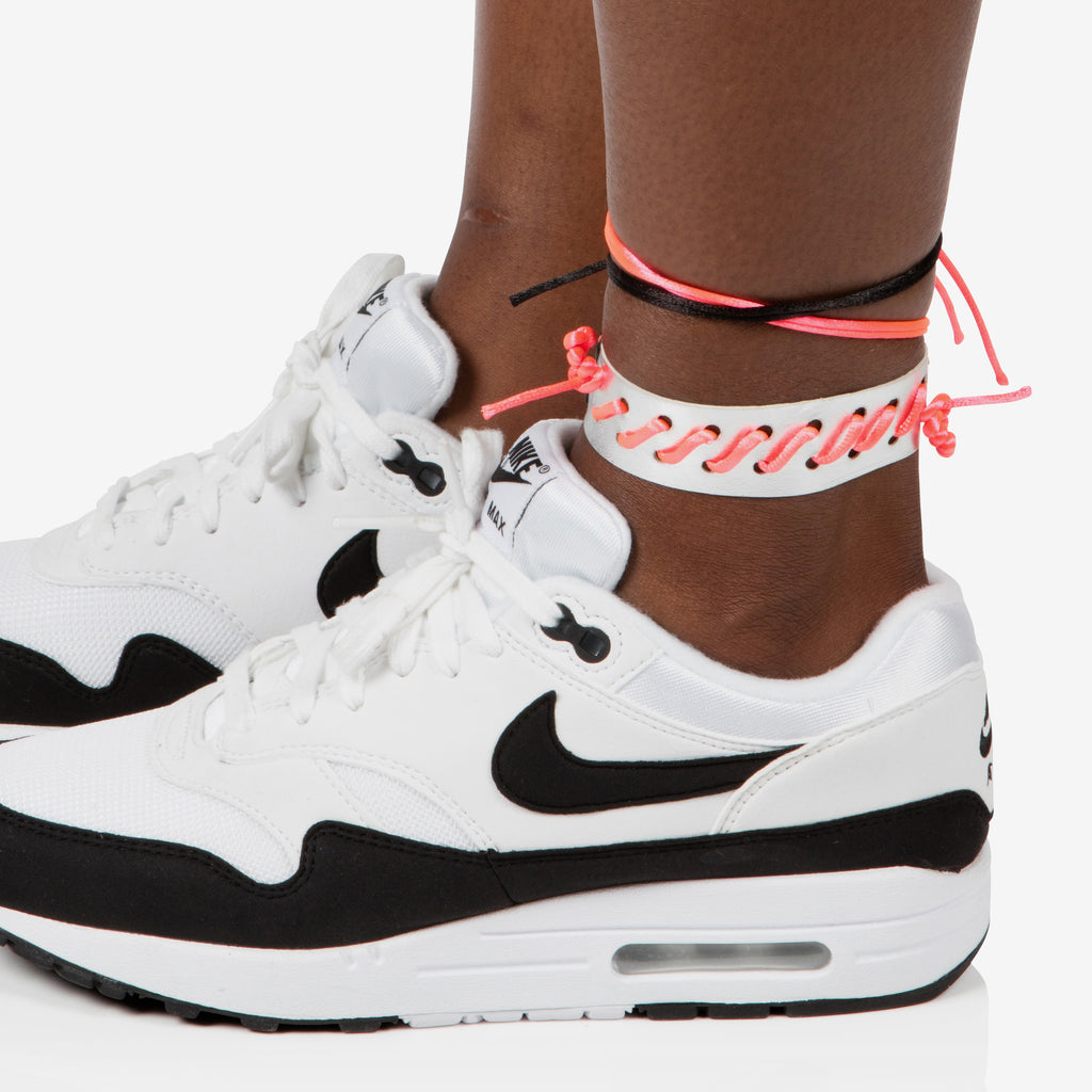 Silver leather anklet / choker with neon pink cord whipstitch