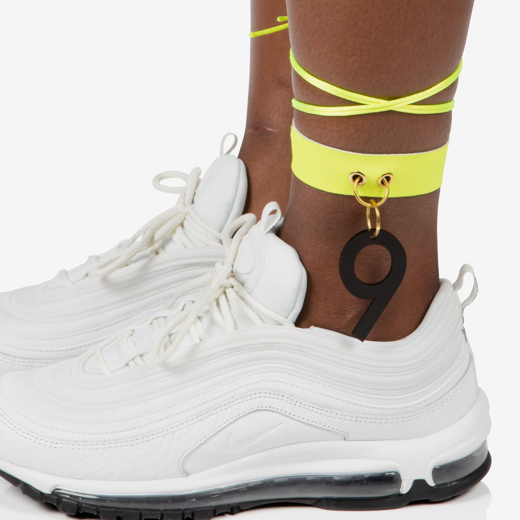 Neon yellow anklet / choker with black perspex no.9