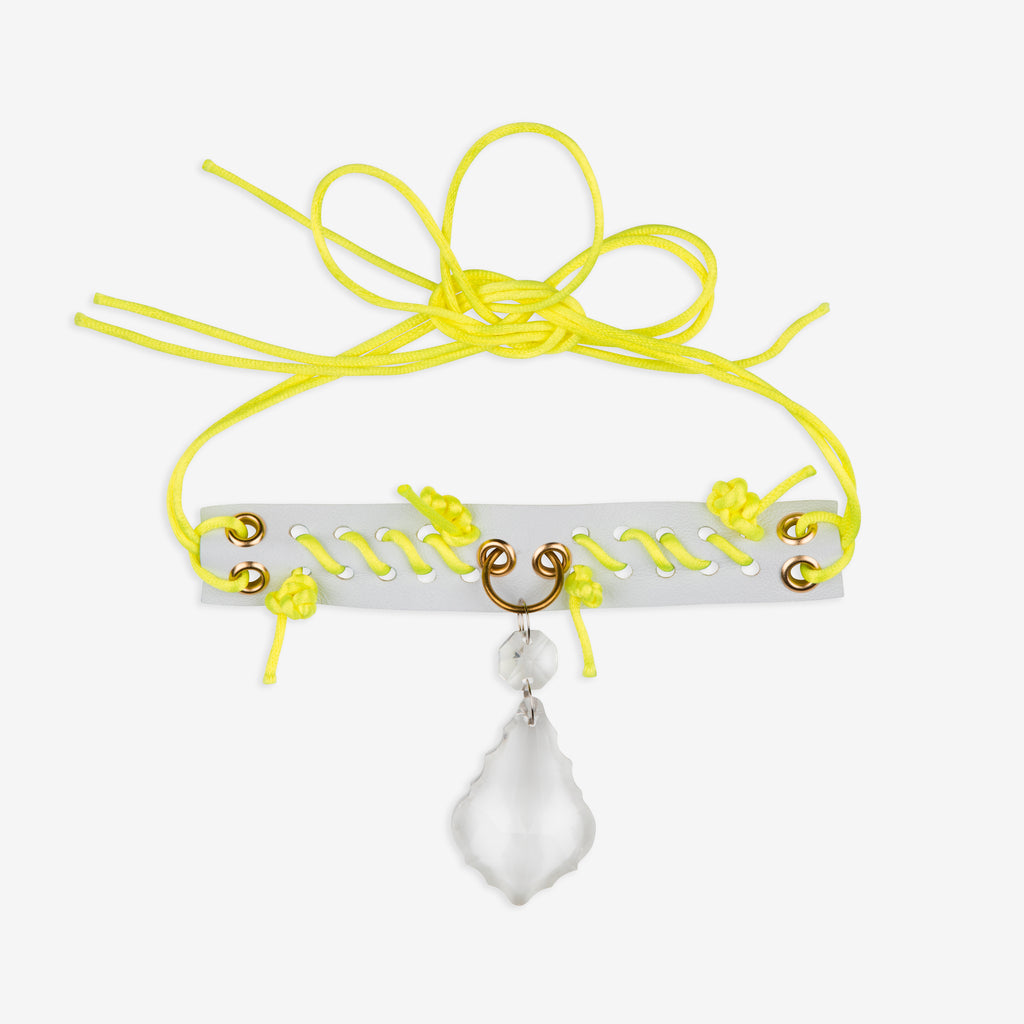 White leather anklet / choker with neon yellow cord whipstitch and clear pear drop gem