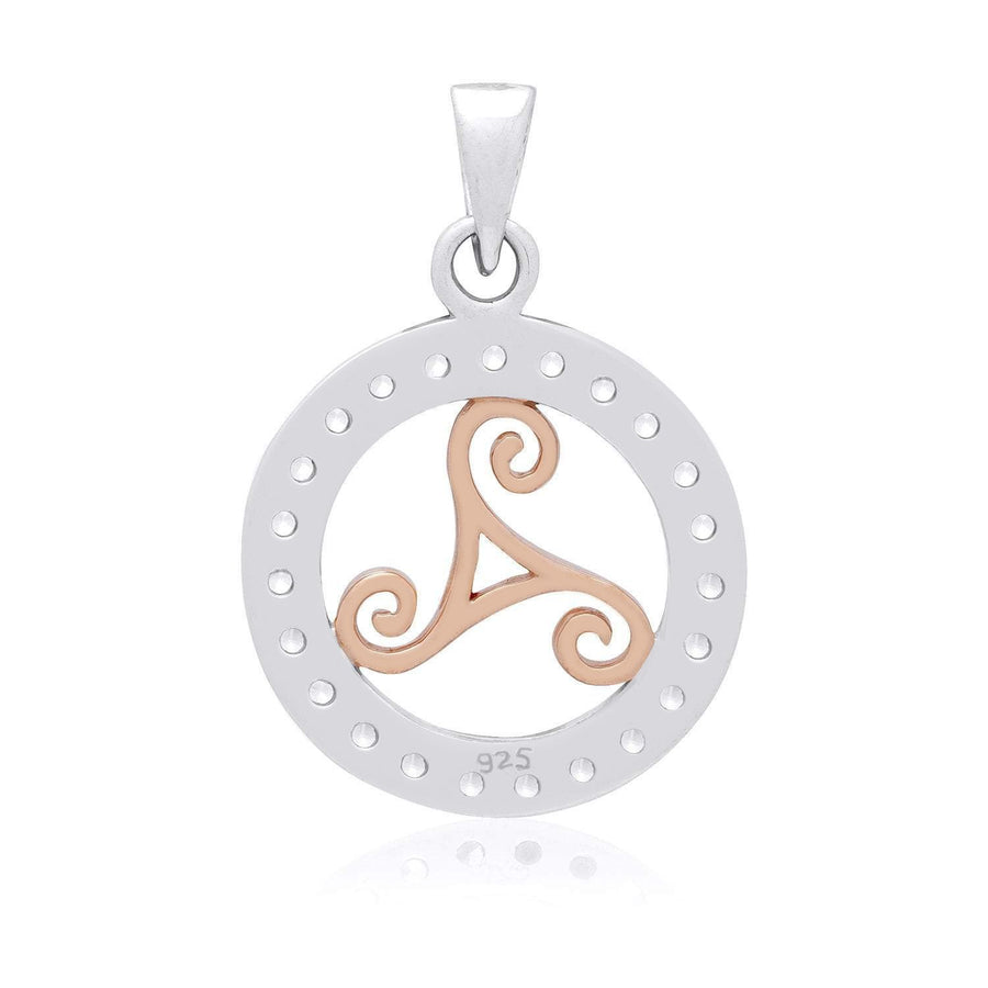 925 Sterling Silver Charm with Rose Gold Triskelion and Cubic Zirconia - SilverMania925