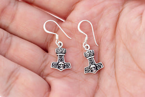 925 Sterling Silver Viking Thor Hammer Mjolnir Skull Dangle Earrings Set