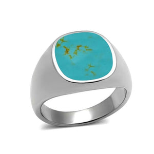 925 Sterling Silver Mens Inlay Turquoise High Polish Classic Band Solid Ring - SilverMania925
