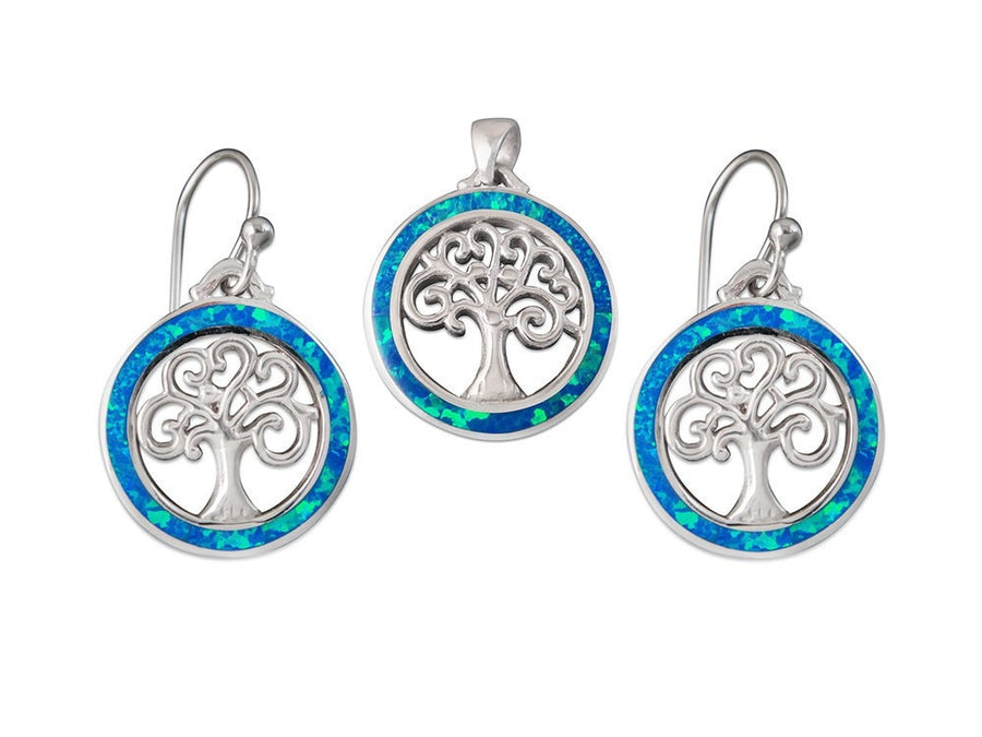 925 Sterling Silver Hawaiian Blue Fire Opal Celtic Tree of Life Dangle Earrings Pendant Set - SilverMania925