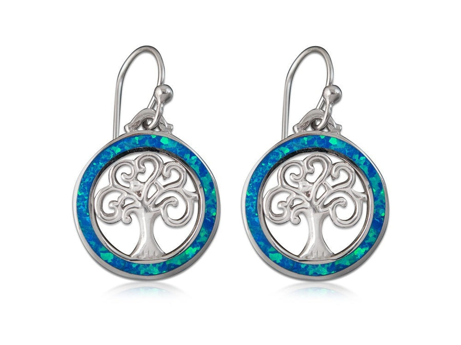 925 Sterling Silver Hawaiian Blue Fire Opal Celtic Tree of Life Dangle Earrings Set - SilverMania925