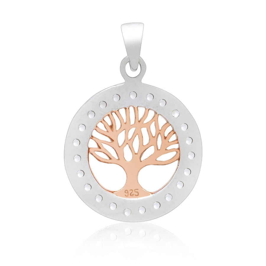 925 Sterling Silver Charm with Rose Gold Viking Yggdrasil and Cubic Zirconia - SilverMania925