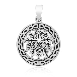 925 Sterling Silver Green Man Celtic Pagan Pendant - SilverMania925