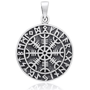 925 Sterling Silver Aegishjalmur Viking Helm of Awe Runes Pendant - SilverMania925