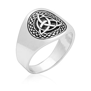 925 Sterling Silver Celtic Triquetra Band Ring - SilverMania925