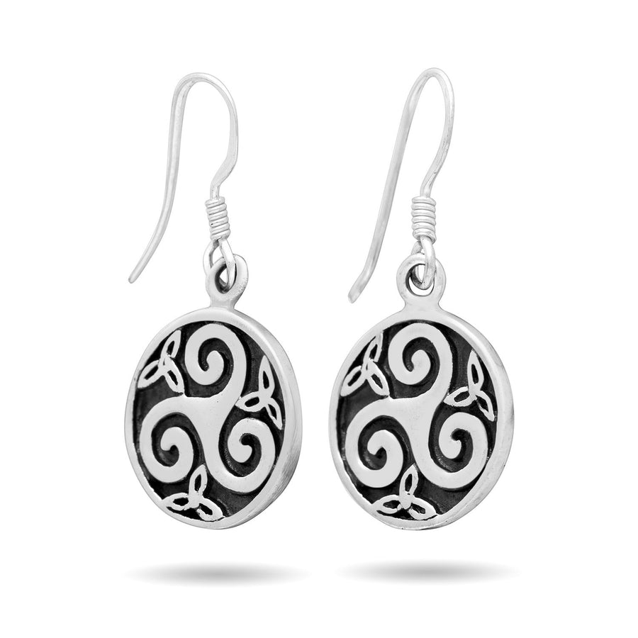 925 Sterling Silver Celtic Triskele Triskelion Dangle Earrings Set - SilverMania925