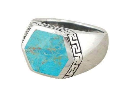 925 Sterling Silver Men's Hexagonal Genuine Turquoise Greek Key Meander Ring - SilverMania925