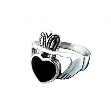 925 Sterling Silver Men's Black Onyx Celtic Irish Claddagh Wedding Ring - SilverMania925