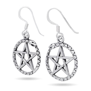 925 Sterling Silver Ouroboros Serpent Dragon Jormungand Pentagram Earrings Set - SilverMania925