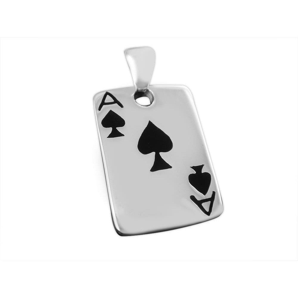 925 Sterling Silver Ace of Spades Casino Las Vegas Card Game Lucky Charm Pendant - SilverMania925