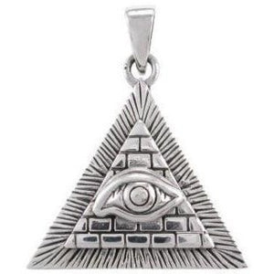 925 Silver Egyptian Pyramid Giza All-Seeing Evil Eye Illuminati Charm Pendant - SilverMania925