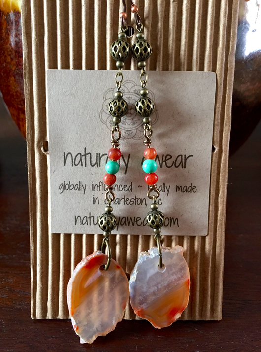 Autumnal Red Agate Earrings