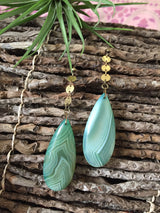 Green Agate Teardrops