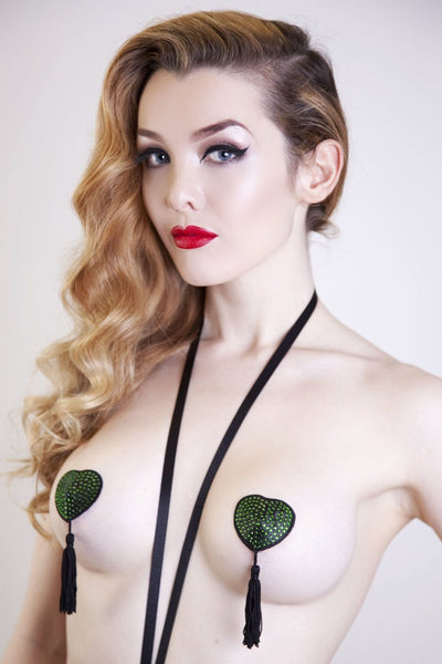 nipple tassels pasties green beads crystals burlesque hearts