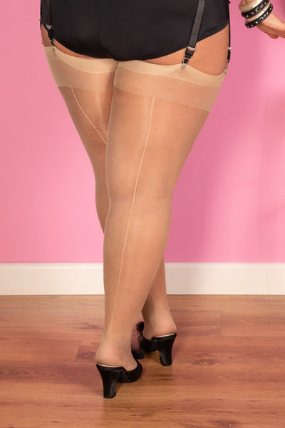What Katie Did Seamed Stockings Curve Champagne