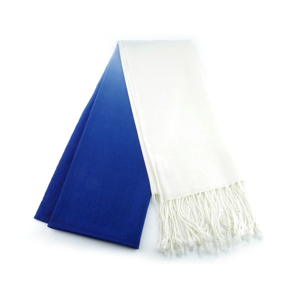 ultra fine and silky smooth wool pashmina made in Ireland, blue and white ombre