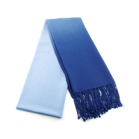 Ombre blue pashmina woven of silky smooth natural fibers