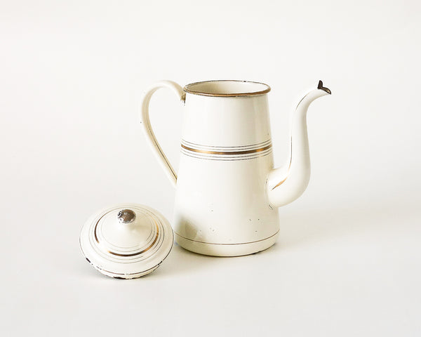 French Enamel White and Gold Coffee Pot