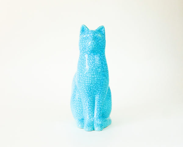 § Longwy style Ceramic Cat Statue - Emaux de Recollets