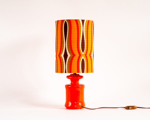 § 70s Geometric Retro Pop Orange Table Lamp
