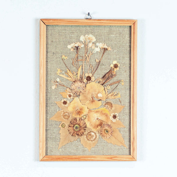 Oddhaus Vintage Luxembourg Botanical art pressed flower composition yellow and white