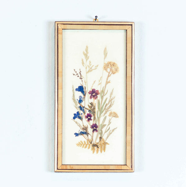 Oddhaus Vintage Luxembourg Botanical art pressed flower composition blue yellow red