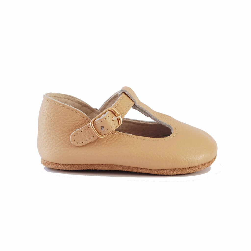 Baby Shoes - Paris baby t-bar shoes for babies & toddlers little girls,, soft soles natural leather beige light brown sand Kit & Kate c25