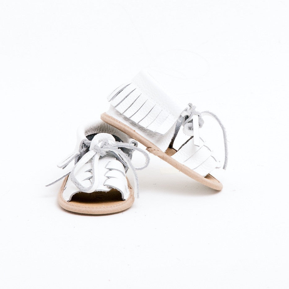 Baby Sandals - Cali White for babies toddlers and children, natural leather boys & girls, Kit & Kate Australia Perth 0
