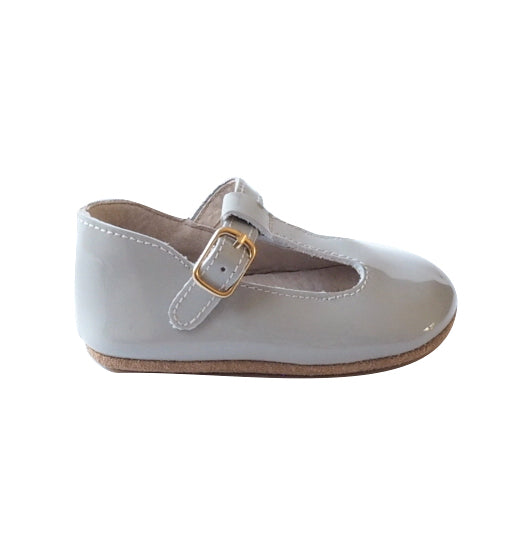 Baby Shoes - Paris grey baby t-bar shoes for babies & toddlers, Girls Kit & Kate soft soles natural leather 7